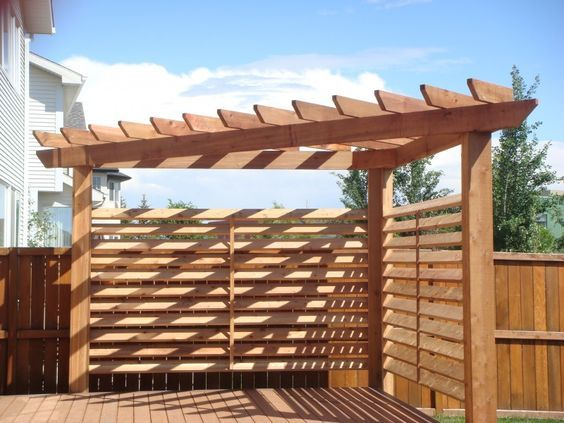 Corner Pergola With Shade Feature Next Project Along A Pea Gravel Patio Area