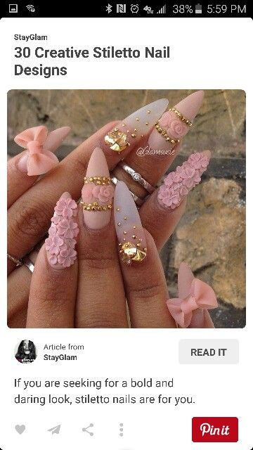 Pink Delicate Junk Nails Finger Styles Pinterest Nails Nail