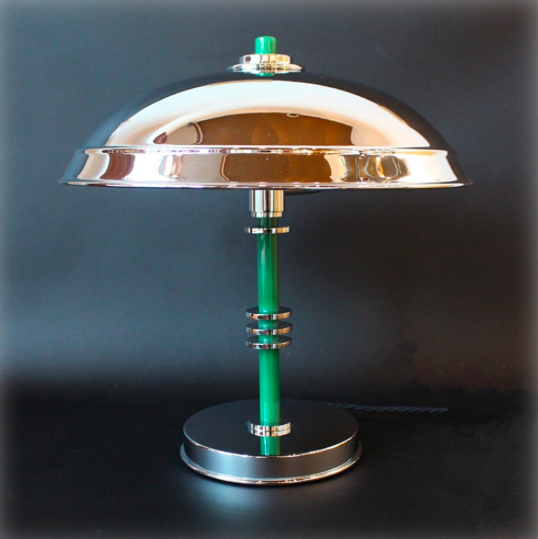 An Art Deco Domed Table Lamp With Green Bakelite Stem Set