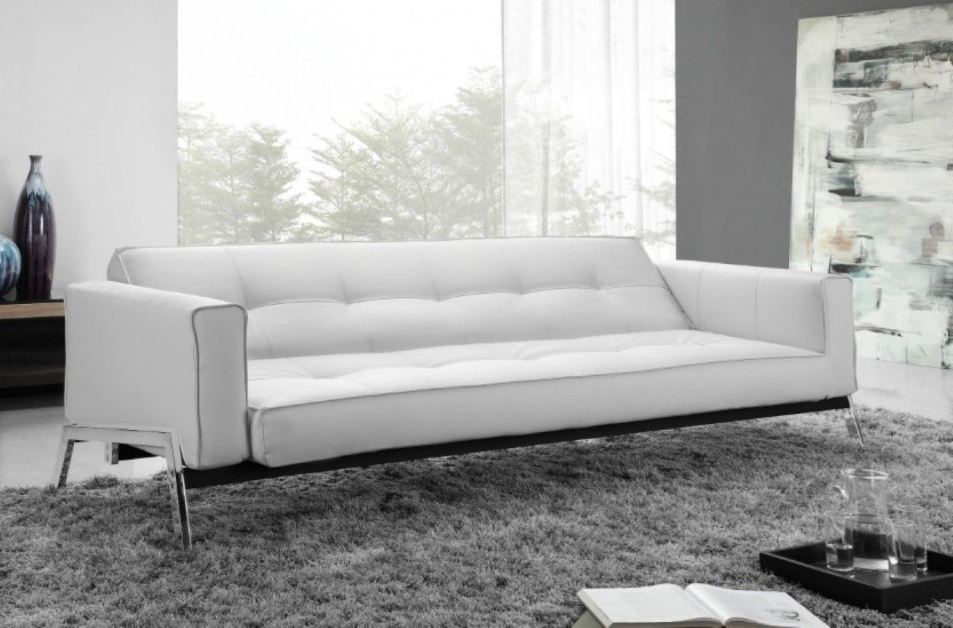 White Leather Convertible Sofa | Leather Futon Sofa Bed Brown ...