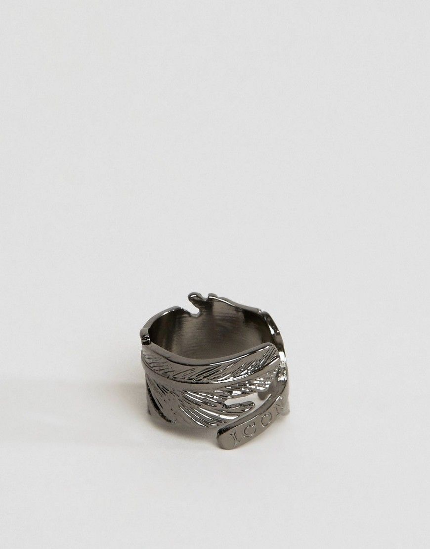 255090f39 Icon Brand Feather Ring In Gunmetal | Products | Feather ring, Rings ...