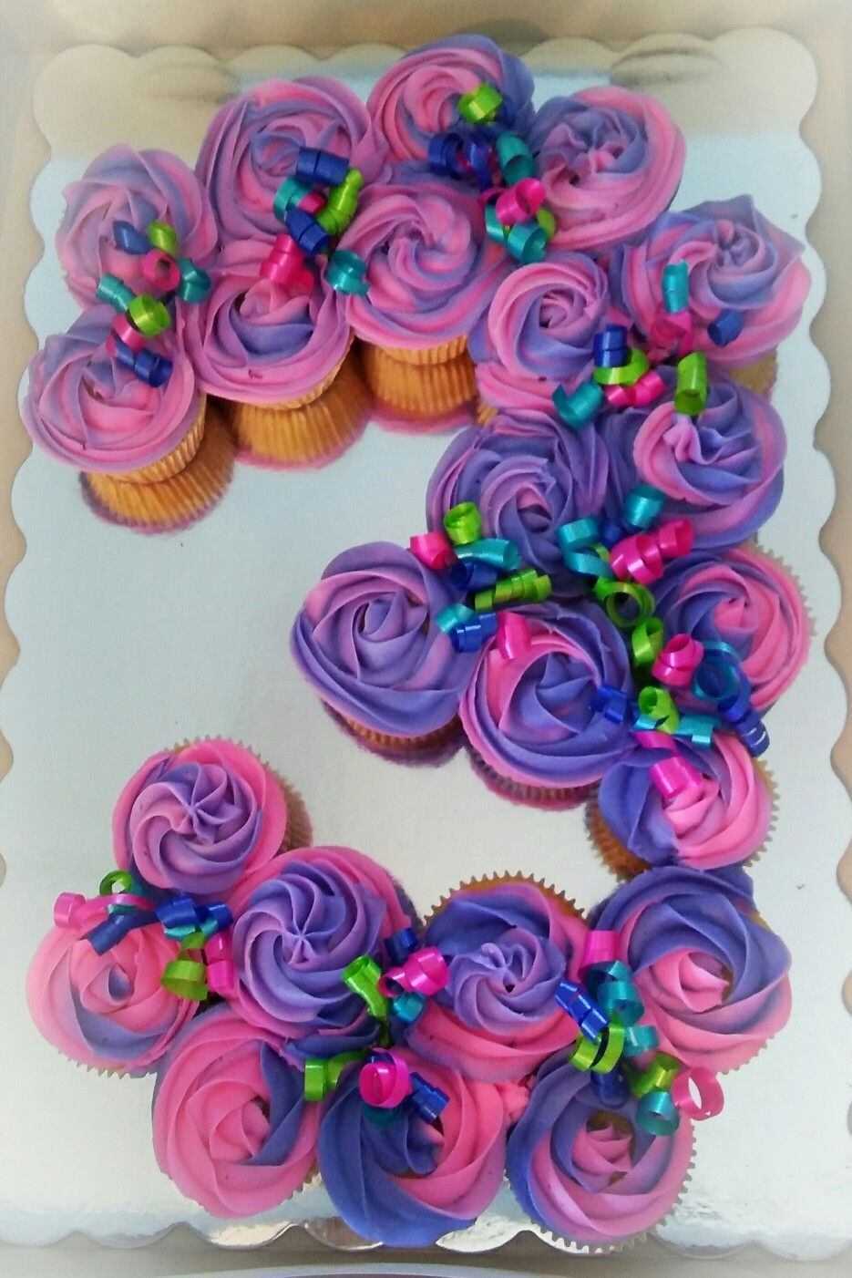 Cool Number 3 Pull Apart Cupcakes Pink And Purple With Images 3Rd Funny Birthday Cards Online Elaedamsfinfo