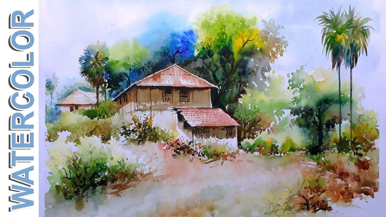 Watercolor Painting For Beginners Village Mud House Scenery Tutorial By Watercolor Paintings Watercolor Landscape Watercolor Landscape Paintings