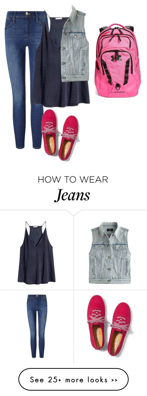 """""""OOTD"""" by emilystoneman on Polyvore featuring Frame Denim, H&M, J.Crew, Keds and Under Armour"""
