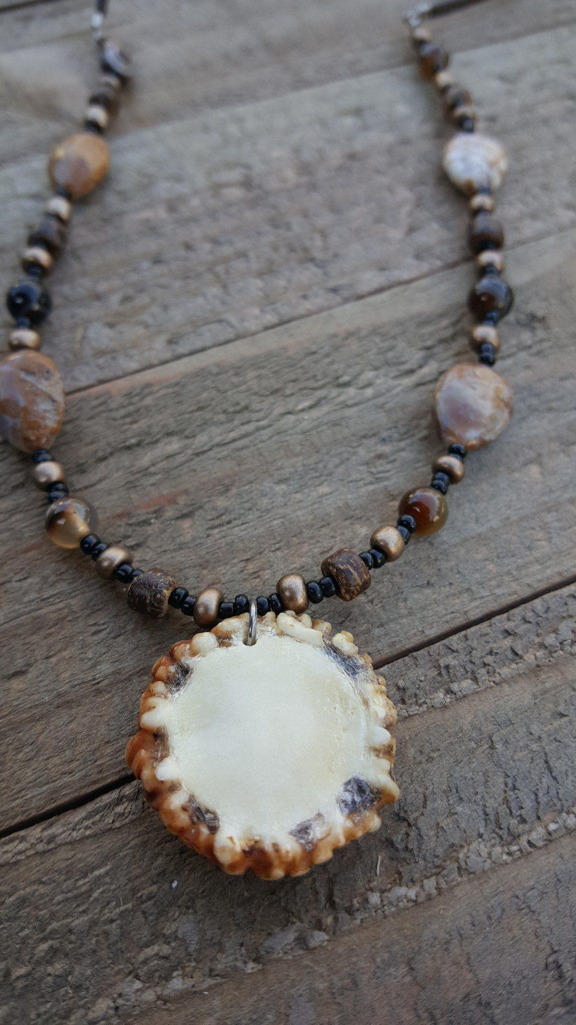 Real Deer Antler Burr Cap Small Necklace Antler Art