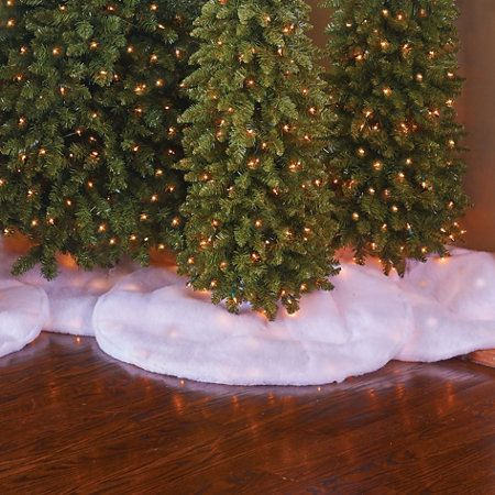 White Christmas Tree Skirt with Lights Christmas Decorations