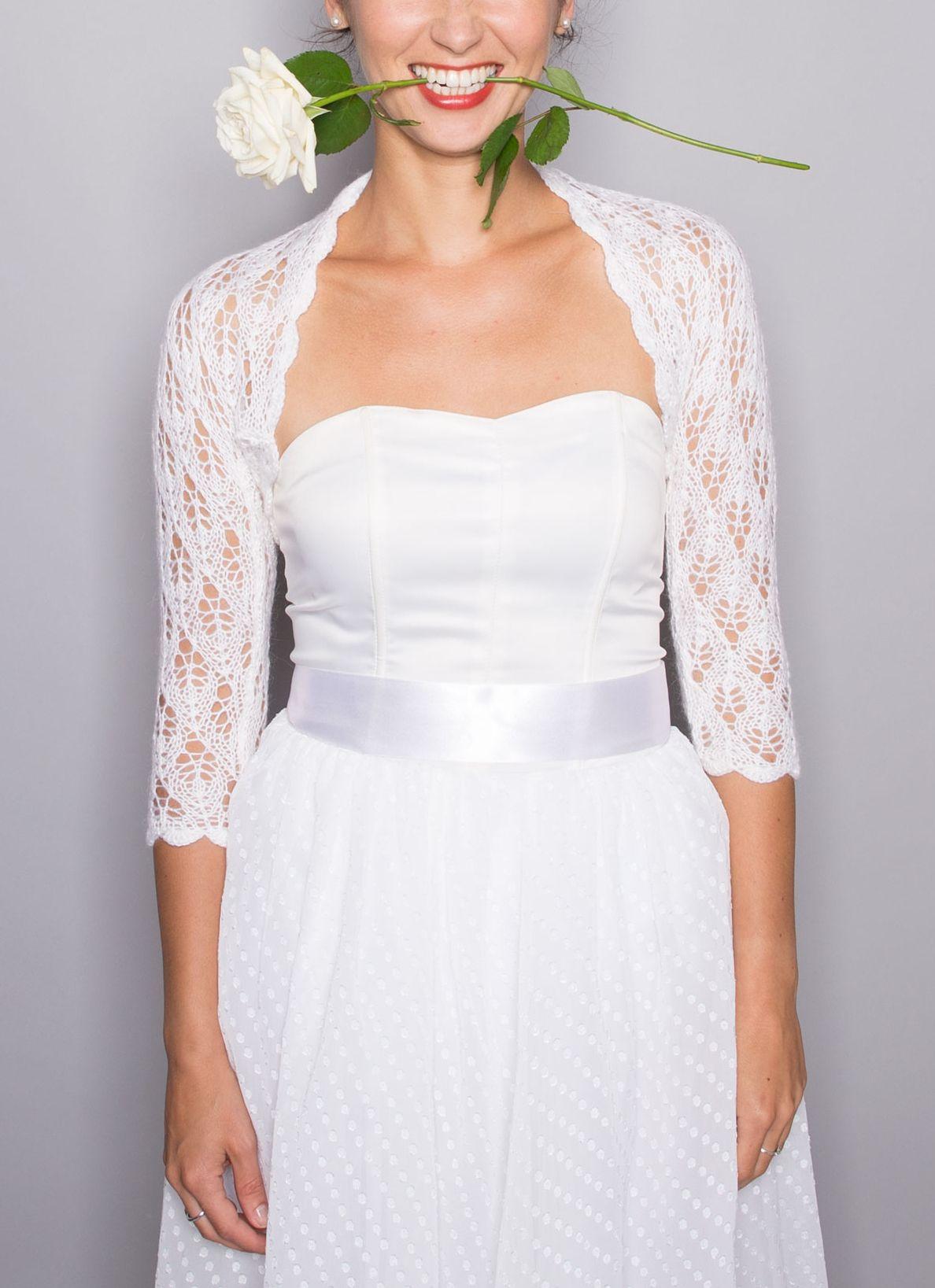 Knitted wedding dress  BRIDAL BOLERO wedding shrug sleeves  leaf pattern lace knitted