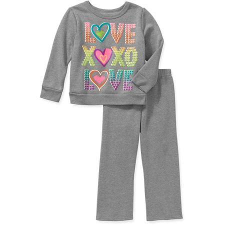32190264187 Garanimals Baby Toddler Girl Fleece Top and Pants 2-Piece Set - Walmart.com