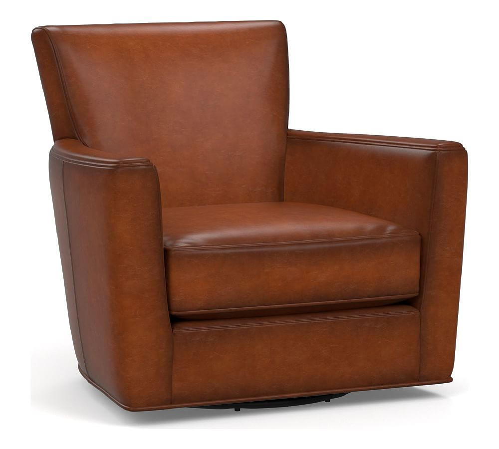 Irving Square Arm Leather Swivel Glider