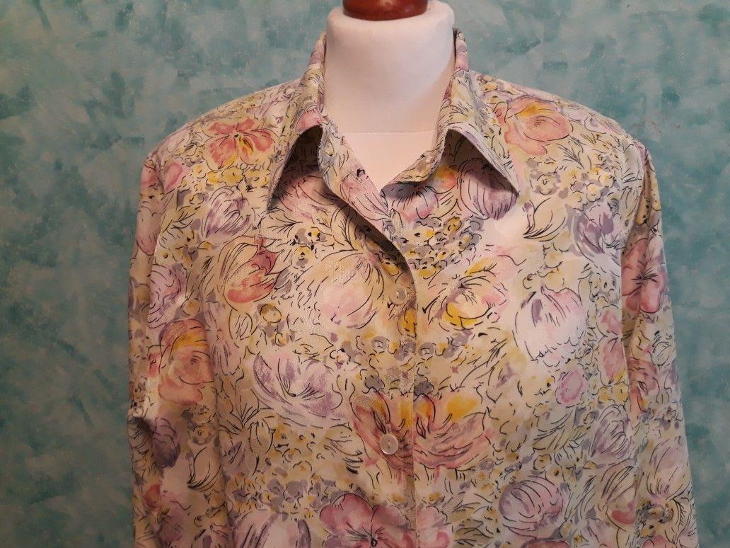 Vintage Floral Blouse Vintage Clothes Women Vintage Floral Blouse Silk Floral Blouse