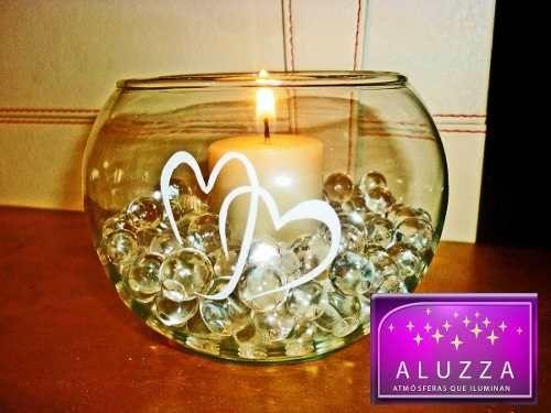 588f7f9eb Peceras De Cristal Con Vela E Hidrogel ::..aluzza | ideas | Candle ...