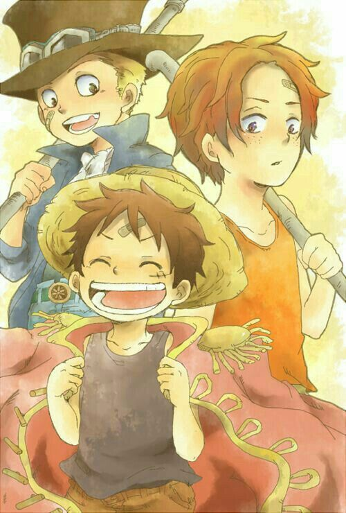 Ace Sabo Luffy Brothers Young Childhood Cute One Piece One