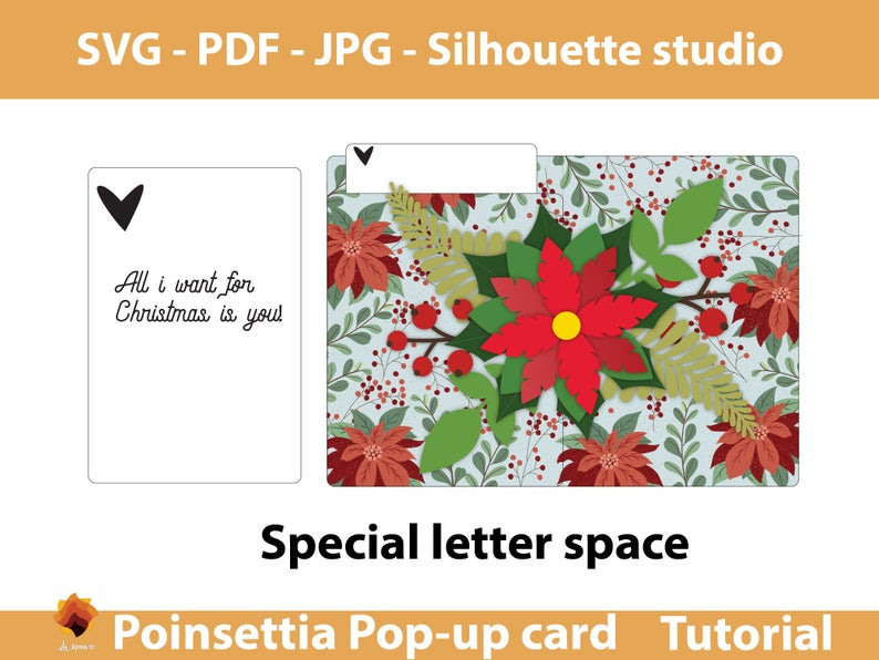 Poinsettia Pop Up 5x7in Greeting Card Poinsettia Christmas Etsy Pop Up Card Templates Printable Greeting Cards Christmas Cards Handmade
