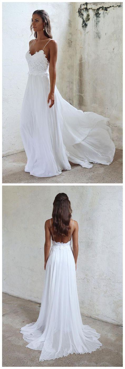 Photo of Vestido de novia simple de espagueti con encaje lateral y abertura en la playa, WD0047 – Ideas para bodas