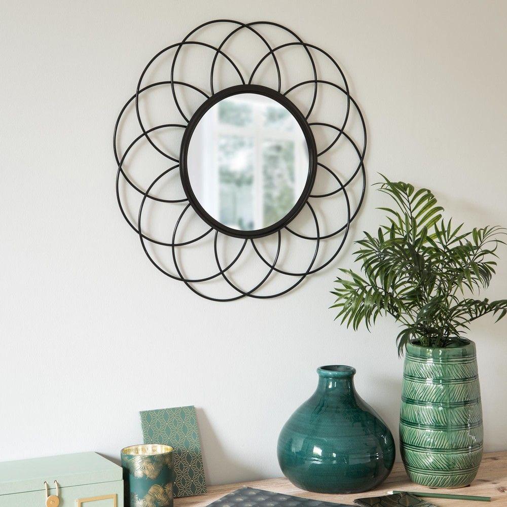Espejo de alambre redondo de metal negro D50 | Espejo, Alambre y Negro