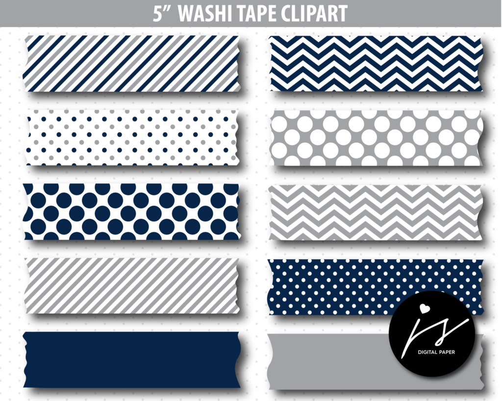 Grey And Navy Blue Washi Tape Clipart Washitape Clip Art Cl 771 Digital Paper Washi Tape Washi