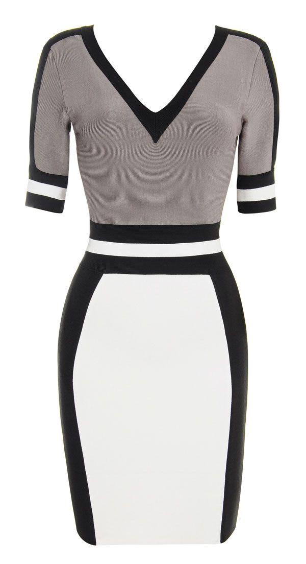 Clothing : Bandage Dresses : ''Micah' Grey and White V neck Bandage Dress from Celeb Boutique