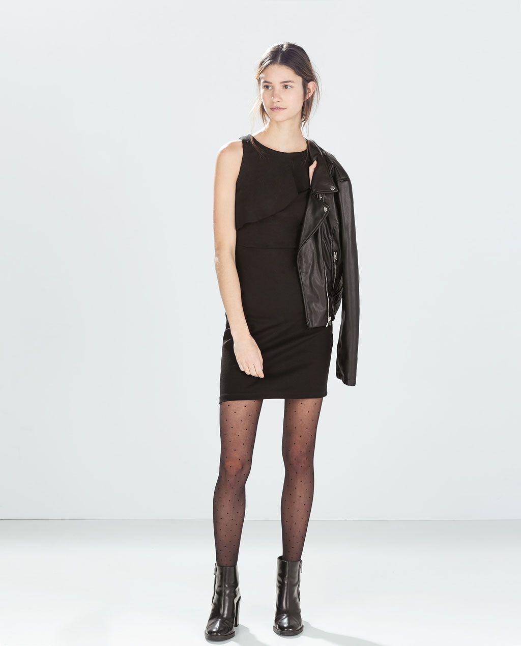 ZARA - WOMAN - DRESS WITH ASYMMETRIC RUFFLE NECK   Beautiful!!