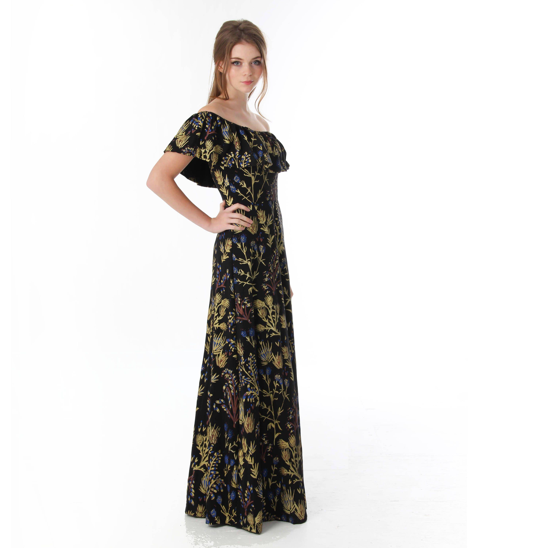 Thistleu off the shoulder flutter top maxi dress in royal blue rust