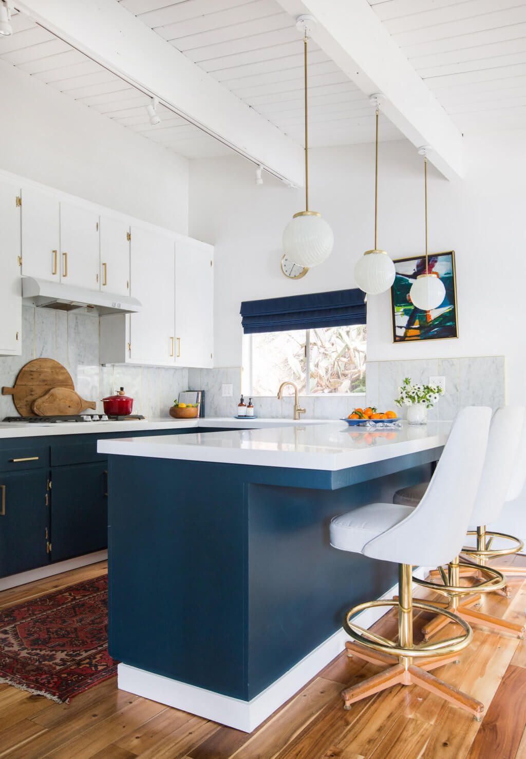 My sweet blue and white midcentury modern