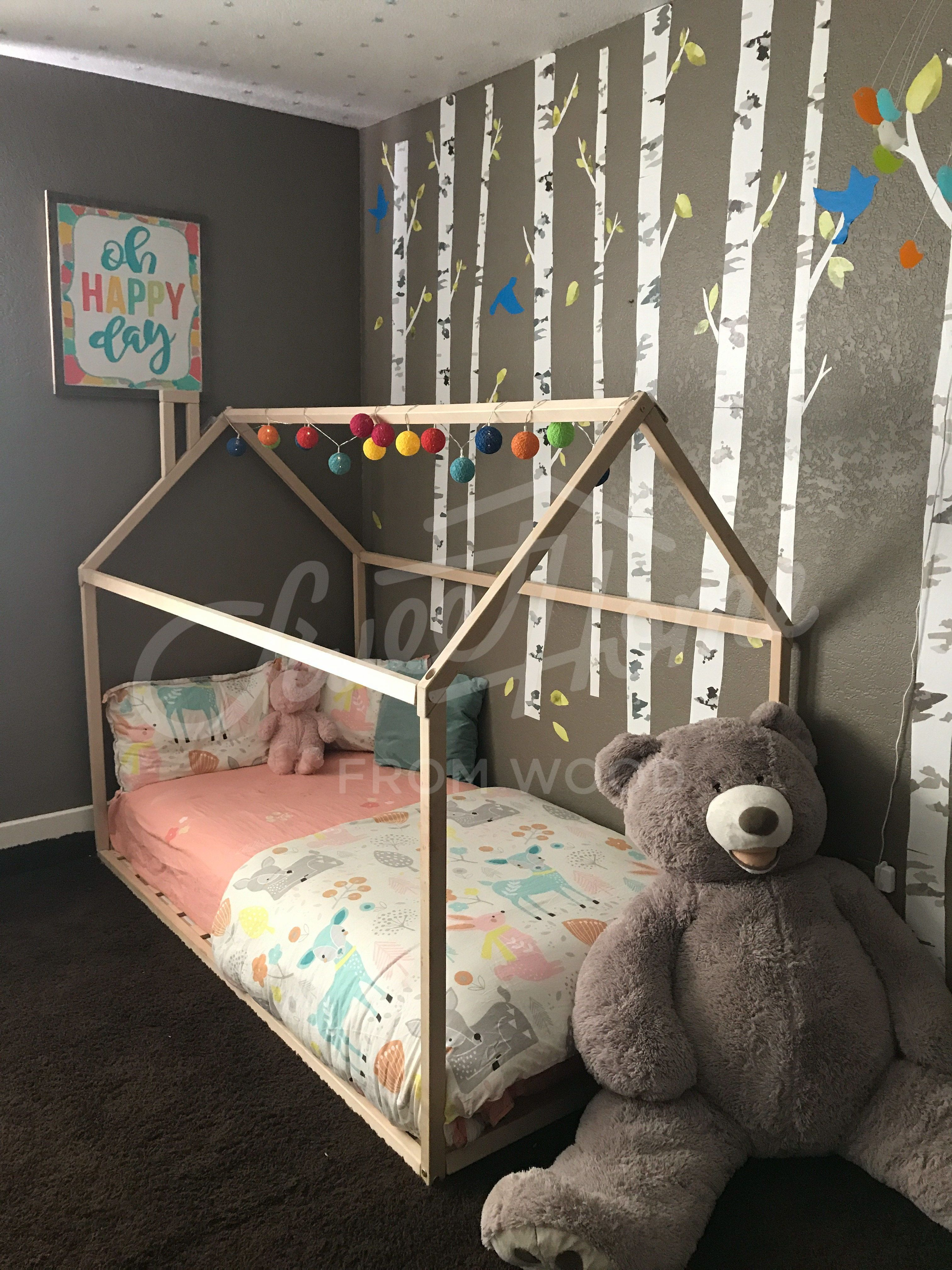 Toddler Bed House Shaped Bed Loft Bed Nursery Wood House Bed Etsy In 2020 Bed Tent Toddler Bed Girl Room