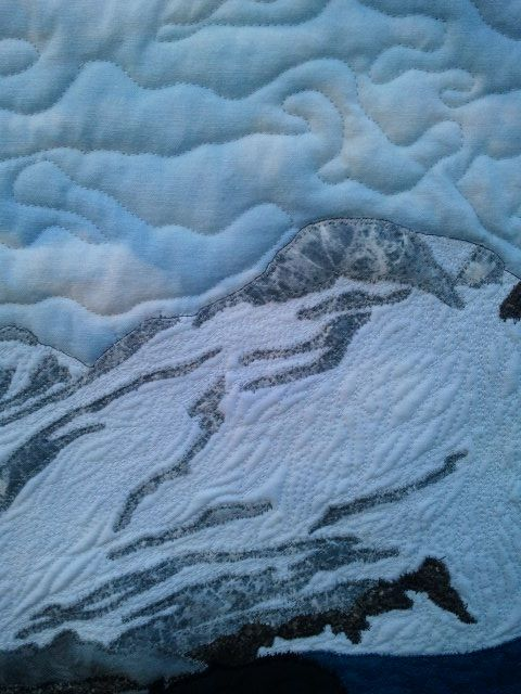 """Close-up of my latest quilt, """"Mt. Baker"""". I just submitted it to the AQS Grand Rapids competition!"""