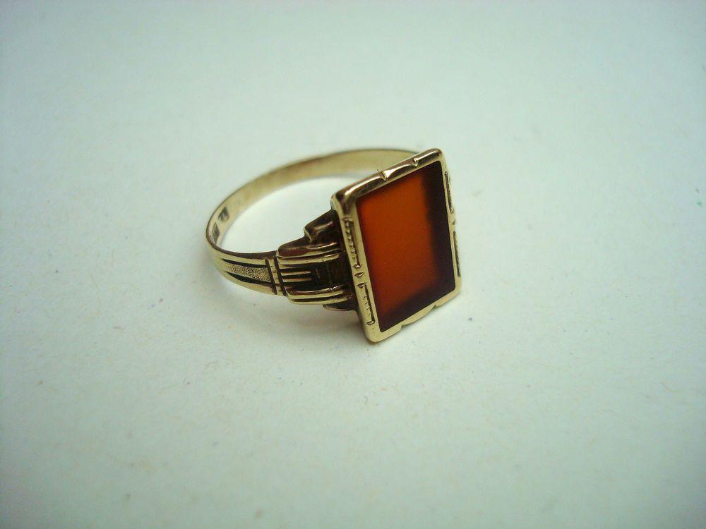 Klassischer alter Damen Ring Gold 585 Karneol Stein Art alt