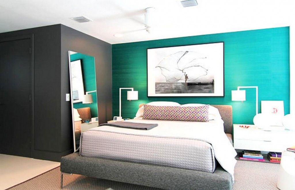Decoration: Elegant Modern Bedroom Design Ideas With Turquoise Blue And  Grey Accent Wall And Modern