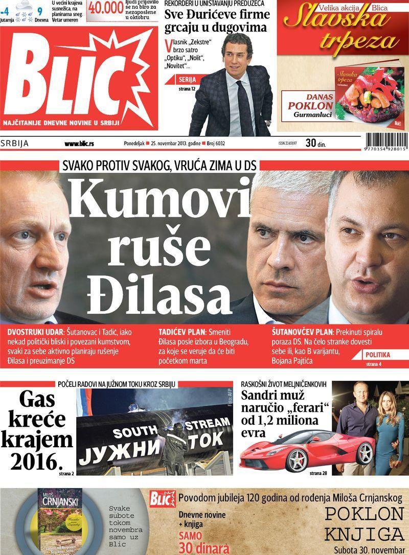 """Naslovna strana """"Blica"""" za 25. novembar 2013. Poster"""