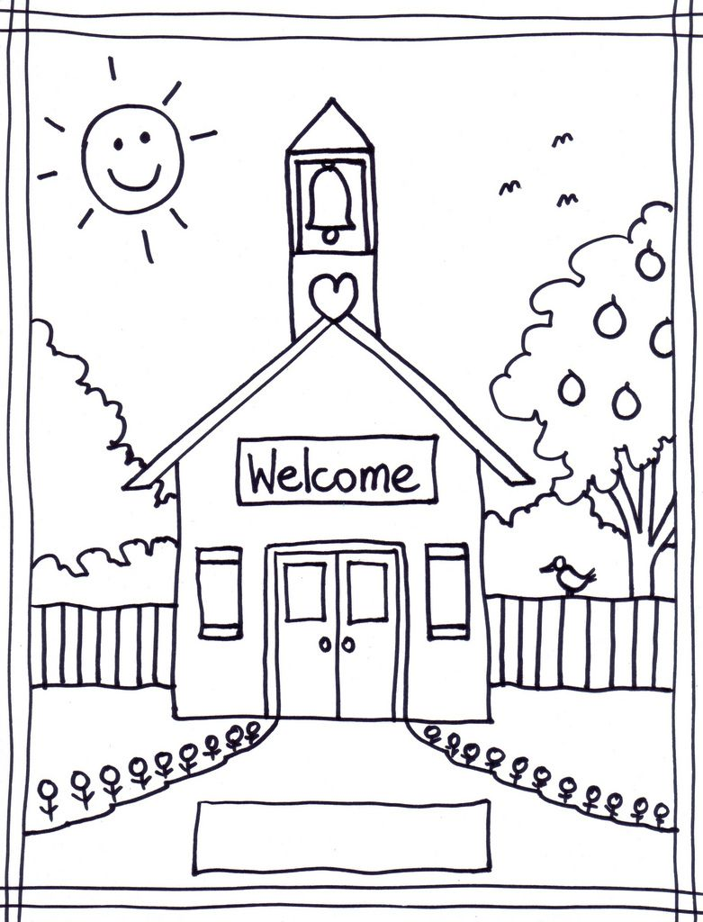 back to coloring pages schoolhouse coloring page