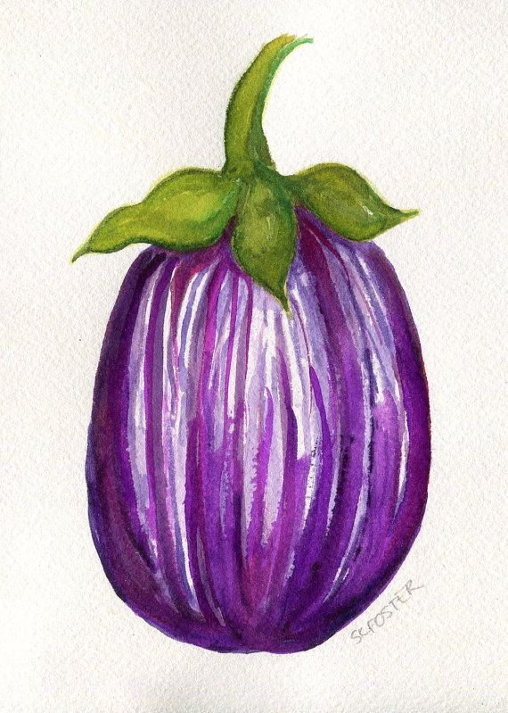 Striped Purple Eggplant Painting Watercolor By SharonFosterArt