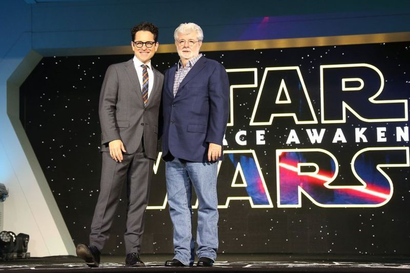 Director JJ Abrams (left) and Star Wars creator George Lucas