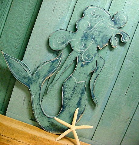 Mermaid Sign Wall Art With Crystal Beach House Coastal Living Decor by CastawaysHall #mermaidsign