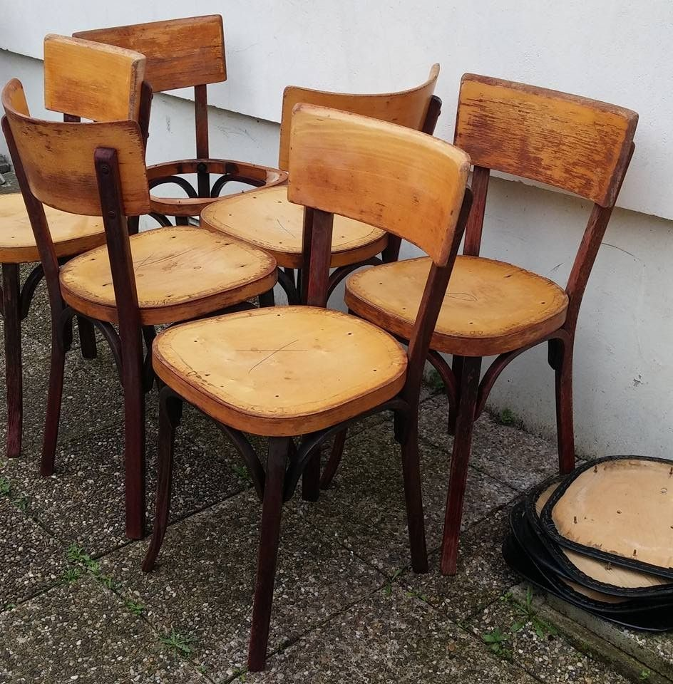 Chaises bistrot Baumann 2 tons de bois et assises tissu