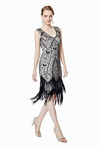 387233cc4b46 1920s Vintage Flapper Fringe Beaded Great Gatsby Party Dress
