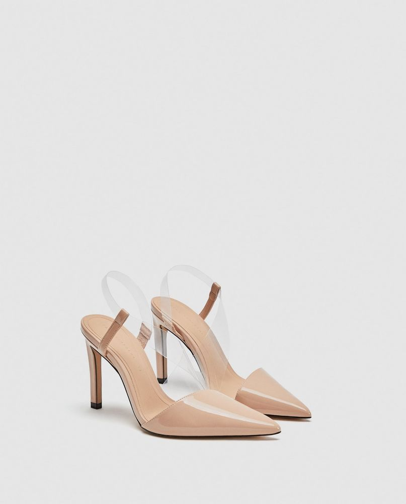 116c3f72686f ZARA NEW VINYL ASYMMETRIC COURT SHOES HIGH HEEL POINTED TOE NUDE SIZE UK  2-9 | Clothes, Shoes & Accessories, Women's Shoes, Heels | eBay!