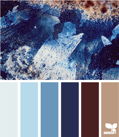 Crystallized Blues With The Blues As The Glass Tiles The Light Brown As The Grout The Dark Brown As The Cabinet Design Seeds Color Palette Colour Schemes