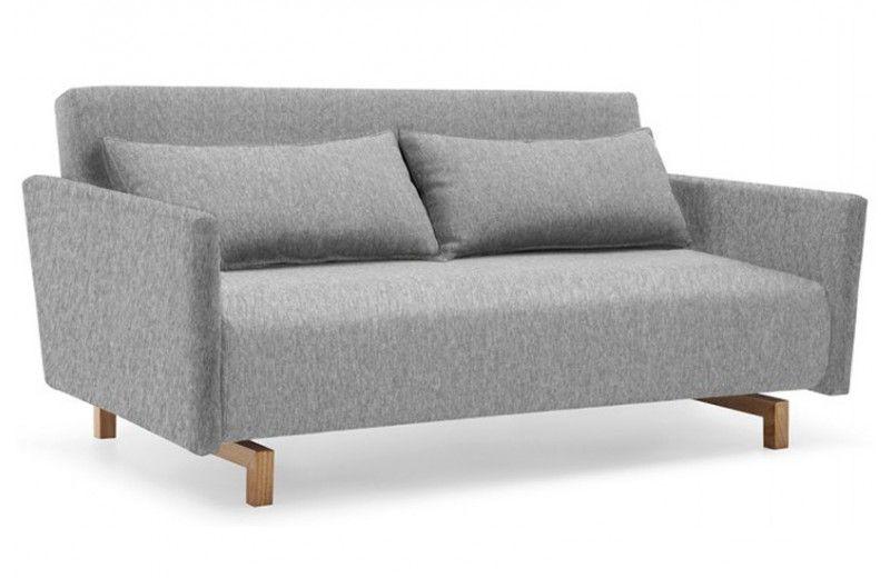 Canapé Convertible Design Stockholm Gris 165 CM Piétement Bois