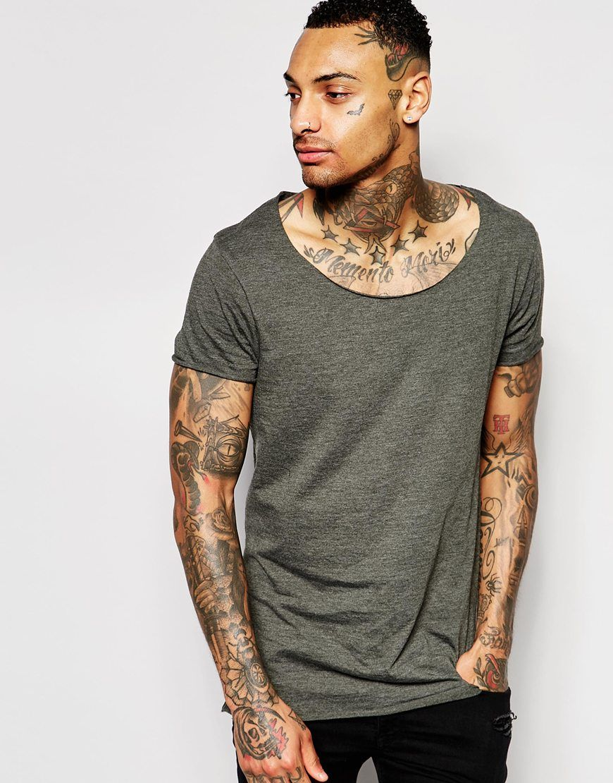 ASOS Longline T-Shirt With Scoop Neck And Raw Edge In Green