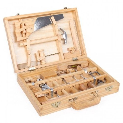 Moulin Roty Children's Large Wooden Tool Box Tool Kit Set Toy | | Pinterest | Wooden tool boxes ...