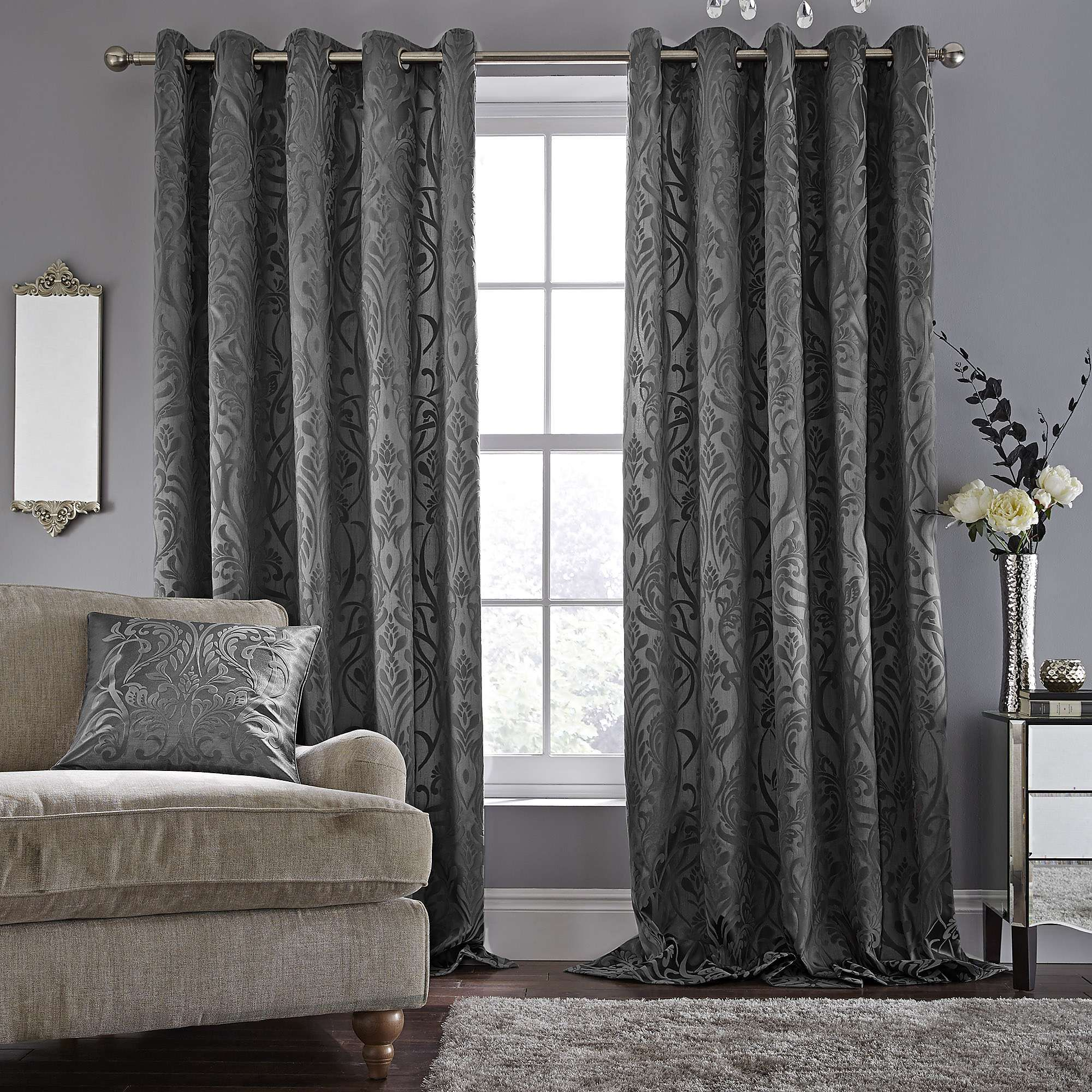 Room Harrow Grey Lined Eyelet Curtains