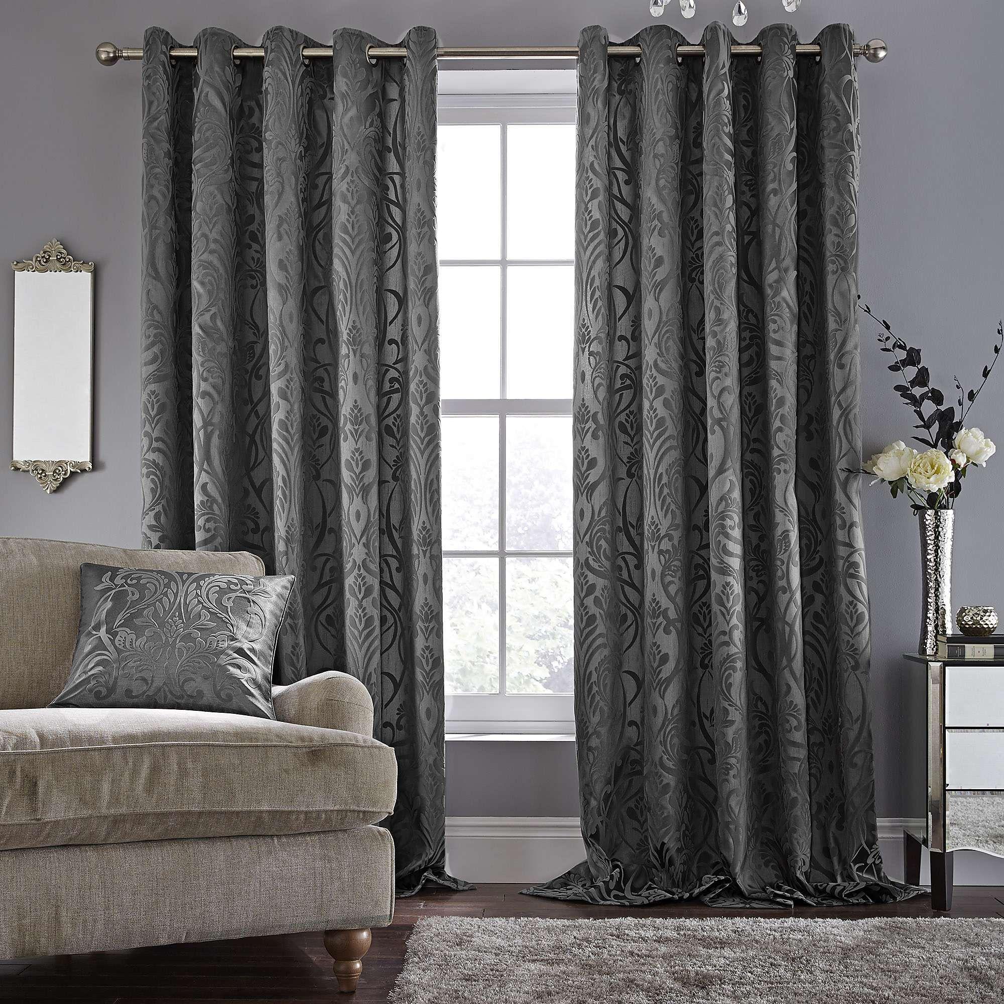 Room Harrow Grey Lined Eyelet Curtains