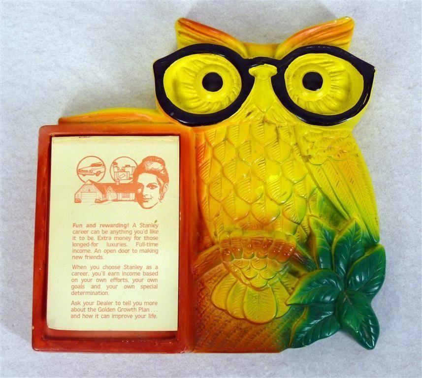 Vintage 70s Chalkware Owl W Glasses Notepad Holder