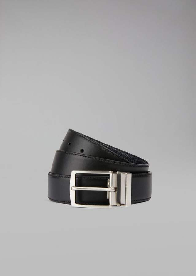 8b2f6b8044 Belt in grained leather with metal buckle | Products | Armani belt ...