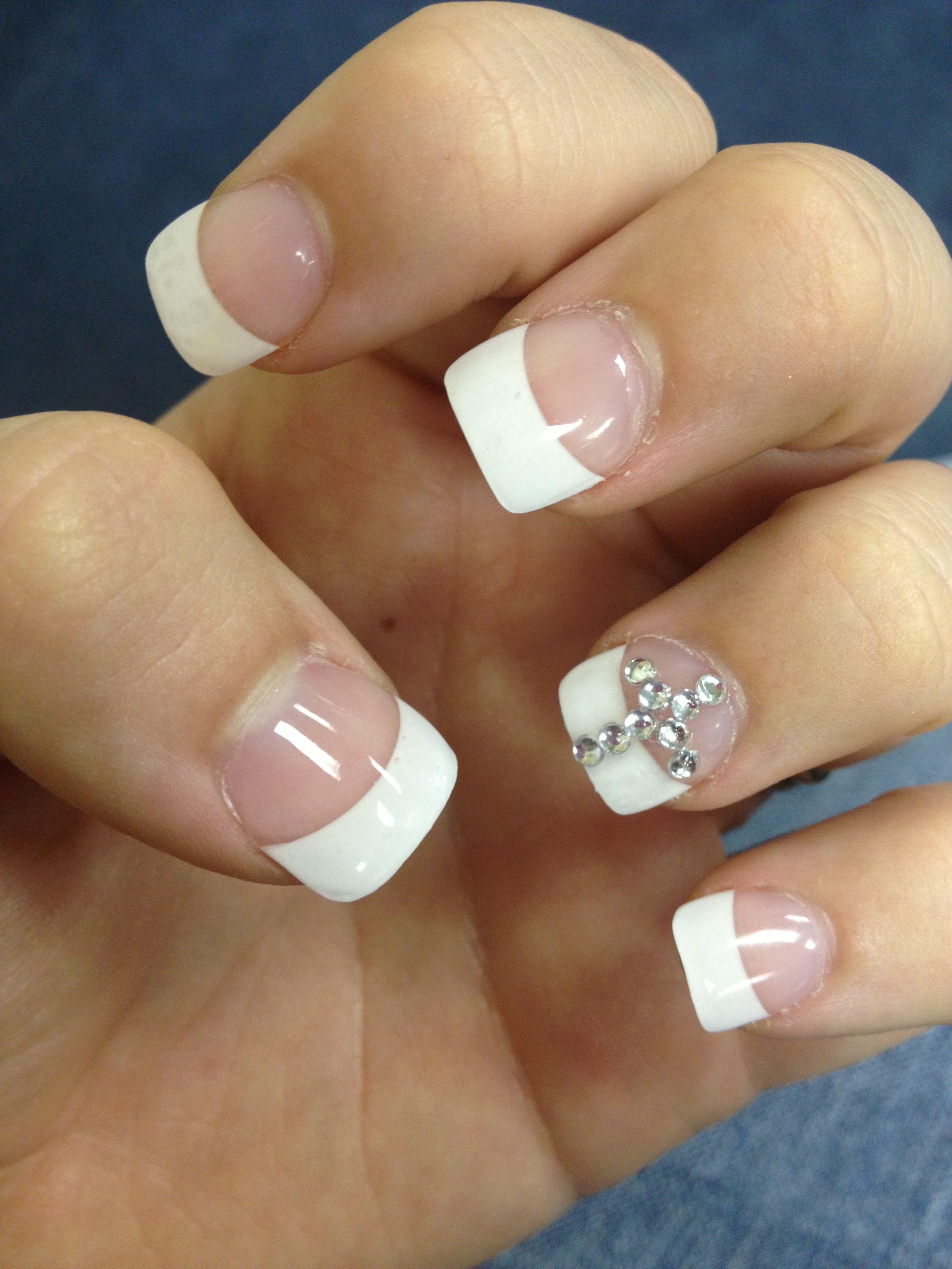 Acrylic nails with rhinestone cross! | Hair;Makeuppp;Nails ...