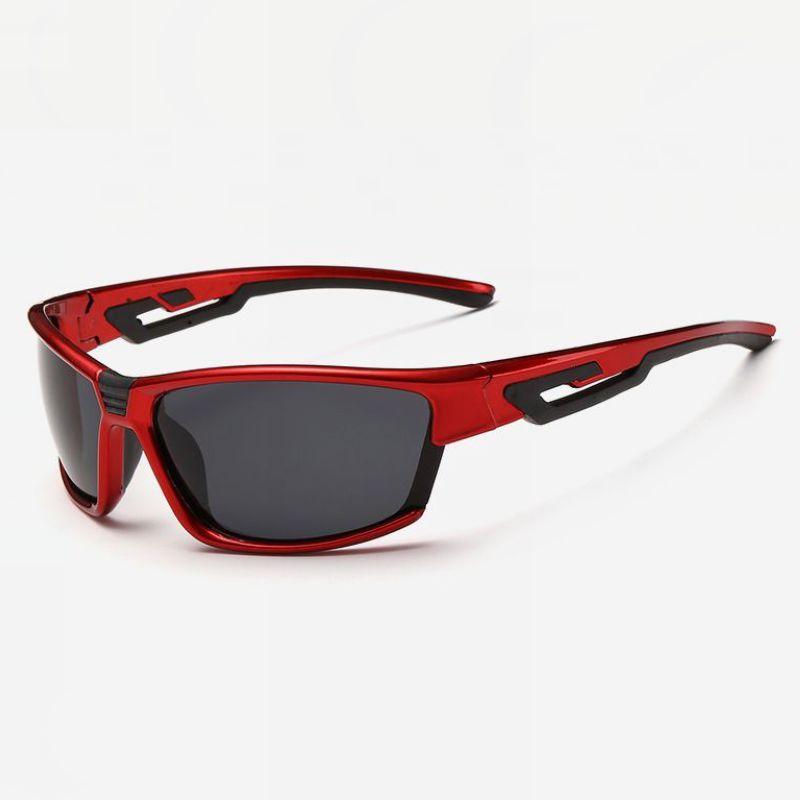 0877ae0a0ba Mens Cycling Wrap Polarized Sunglasses Red Frame 71mm Grey Lens ...