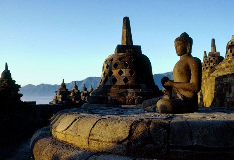 Borobudur is the biggest Budhist temple in the world.  Here is a close up.