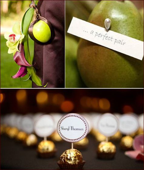 Fall Weddings - love the chocolate truffle name cards