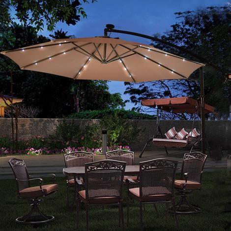 Outdoor 10 Hanging Solar Led Umbrella Patio Sun Shade Offset Market W Base Tan Recreational Outdoor Patio Umbrellas Patio Umbrella Lights Patio Sun Shad