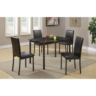 Vena Black Faux Leather And Metal Frame Marble Finished Top 5 Piece Dining Set Dining Table Marble Dining Sets Modern Dining Room Sets